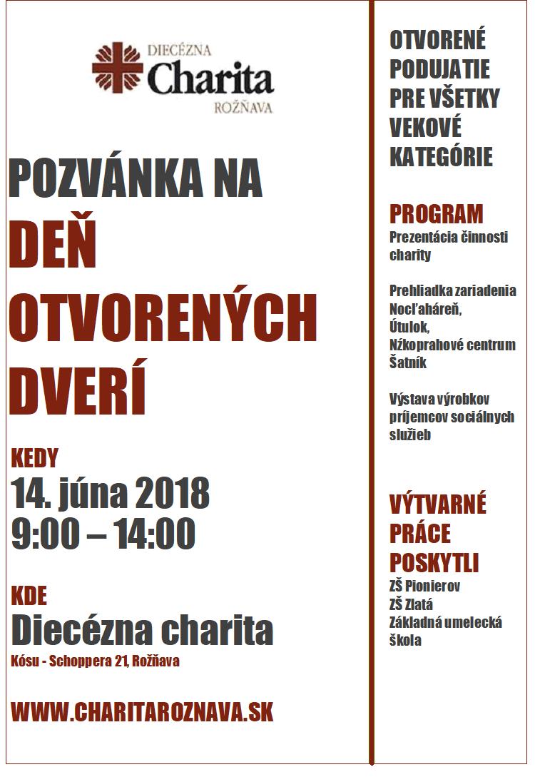 Pozvánka na deň otvorených dverí v Charite Rožňava