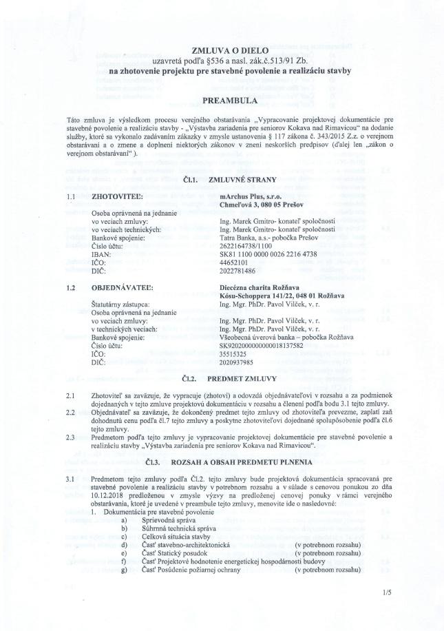 Zmluva o dielo na zhotovenie projektu pre stavebné povolenie a realizáciu stavby